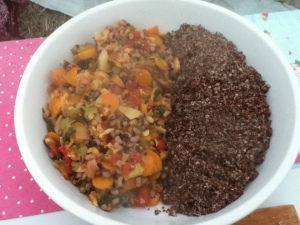 glasto bean stew and quinoa